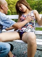 Aika Asian is undressed, fucked and fingered by man in the park