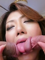 Reina Nishio Asian sucks two cocks and gets them in fish taco