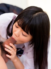 Schoolgirl Shinjo Nozomi with shaved pussy